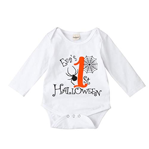 JOFOW Newborn Romper,Halloween Baby Boys Girls Infant Long Sleeve Jumpsuit,Cute Solid White Cartoon Letters Toddle Outfit (90cm,White)
