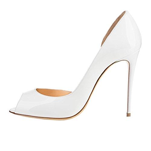 Merumote Donna J-020 Sexy Peep Toe Colore Puro Tacchi Alti Pompe Classiche Per Abito Da Sposa Bianco