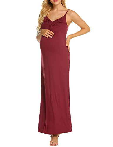 MAXMODA Women's Deep V Neck Adjustable Spaghetti Straps Summer Dress Party Dresses Wine Red S ()