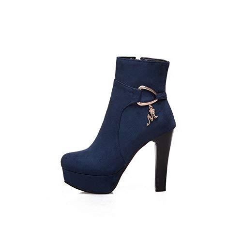Short Heel Blue Platform Block Carolbar Women's Boots AIqn0