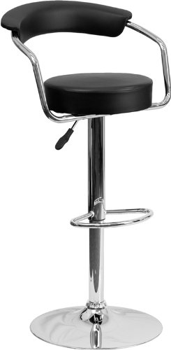 Flash Furniture Contemporary Black Vinyl Adjustable Height Barstool with Arms and Chrome Base (Contemporary Arms Bar)