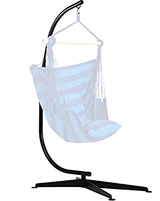 FDW Hammock Chair Stands Hanging Hammock Stands,C Stand Outdoor Solid Steel Heavy Duty Stand Only Construction for Hanging Hammock Air Porch Swing Chair Indoor
