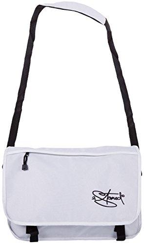 Original 2stoned Vintage Messenger Bag Umhängetasche mit Sticklogo Classic Logo, Weiss Weiß (Classic Logo)