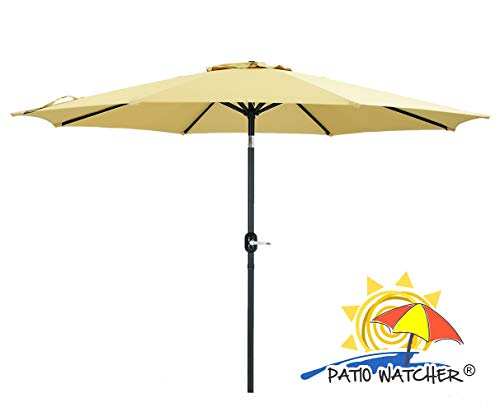 Patio Watcher 11 Feet Patio Umbrella Outdoor Table Umbrella with Push Button Tilt and Crank for Market