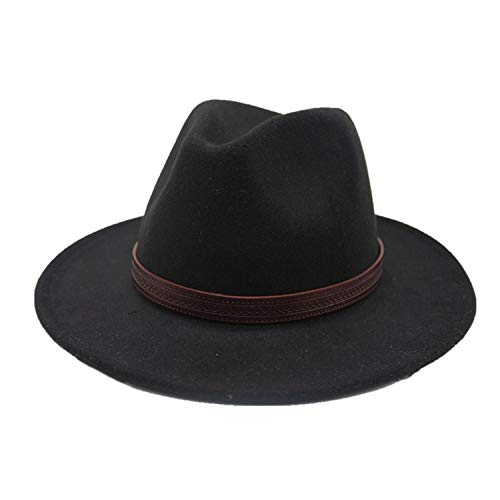 RXIN Color 100% Wool Wide Brim Felt Fedora hat Trilby Hat Gangster Panama hat Church Hat Men Women Pink -