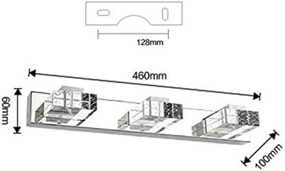 Temgin Spiegelleuchte LED 3 Flammig Badleuchte Kristall Badlampe Spiegellampe KaltWeiß 6000K Badezimmer Lampe