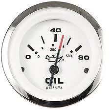 Sierra International 65501P Lido 0 to 80 Psi Dial Range Scratch Resistant Electric Oil Pressure Gauge, 2