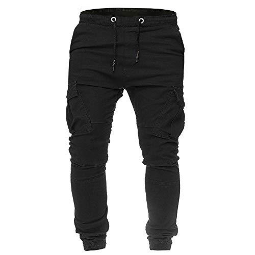 bf9464e6a6c7 ANJUNIE Men Sweatpants Slacks Casual Elastic Joggings Sport Solid Baggy  Pockets Trousers(1-Black,L)