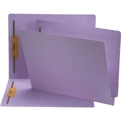 Smead End Tab Fastener File Folder, Shelf-Master Reinforced Straight-Cut Tab, 2 Fasteners, Letter Size, Lavender, 50 per Box (25540)