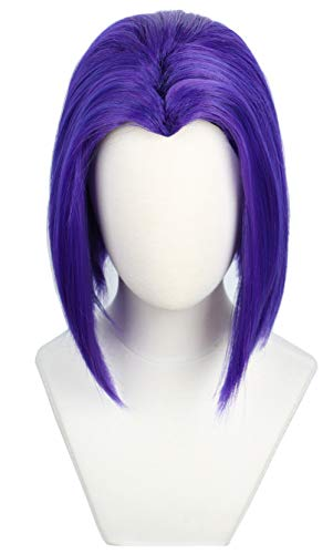 Codeven Short Purple Hair Wigs Halloween Costume Cosplay Wig for Women ()