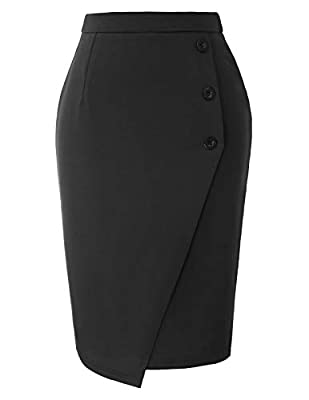 GRACE KARIN Women's High Waist Button Midi Pencil Skirts for Work Office