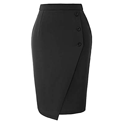 GRACE KARIN Womens Stretchy High Waisted Wear to Work Office Pencil Fitted Skirt Black XXL at Women's Clothing store
