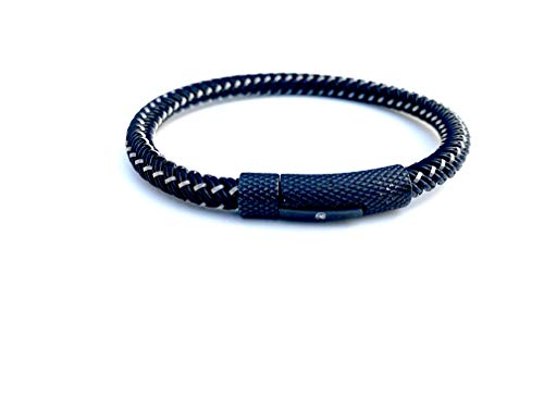 - Klassic Statement Black and Silver Stainless Steel Braided Bracelet with Push Button Clasp Size (7.6