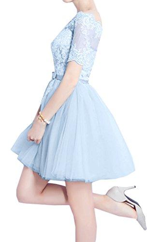 Aermel Partykleid Blau Festkleid Abendkleid Spitze Ausschnitt Promkleid Traumhaft U Damen Kurz Ivydressing pq4XZ4