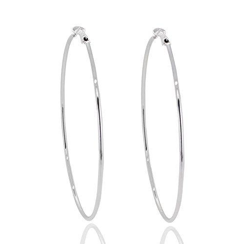 "Super Large Hoop Earrings Solid 3.5"" Stainless Steel Rounded Big earring Silver tone Party club look"
