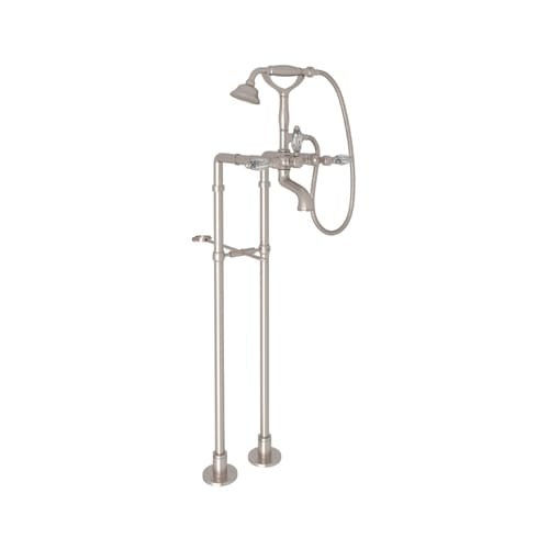 Rohl AKIT1401LCSTN Kit Country Bath Floor Mounted Exposed Tub Shower Mixer Package with Metal Insert Handshower and Crystal Levers, Satin Nickel by Rohl