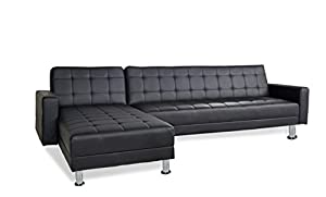 Amazon Barcelona Sofa Bed SECTIONAL with Chaise black Faux Leather Kitchen & Dining