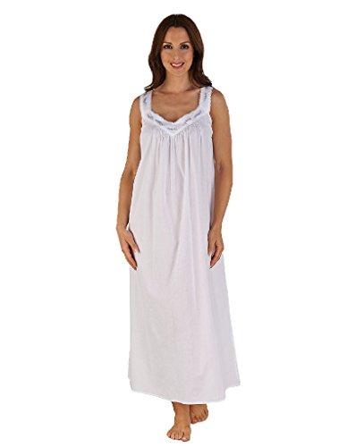 """Slenderella Nachthemd 50"""" bestickt und in Weiß und Lavendel ND04251"""