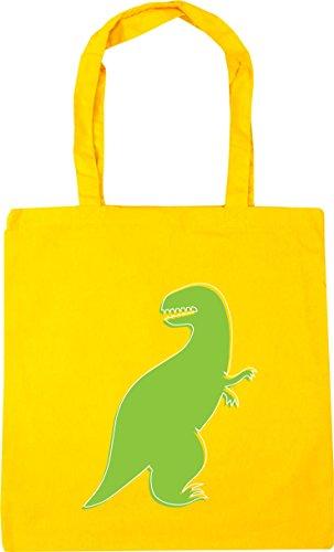 HippoWarehouse Green Dinosaur illustration Tote Shopping Gym Beach Bag 42cm x38cm, 10 litres Yellow