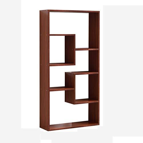(G'z Creative Lattice Bookshelf Partition Frame Floor Bookcase Racks Living Room Bedroom Office Storage Nordic Modern Minimalist (Color : Redwood Color))