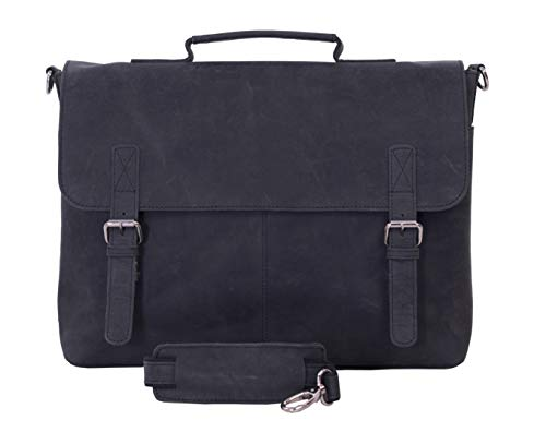 KomalC 15 Inch Black Retro Buffalo Hunter Leather Messenger Bag   Office Briefcase   College Bag   Laptop Bag