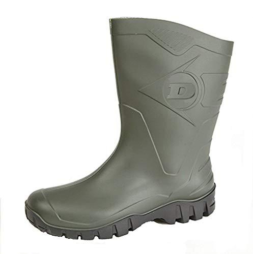 Womens Dunlop Short Half Length Ankle Wellington Wellies Boots WIDE CALF UK 4 -9 GREEN