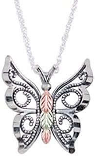 product image for Oxidised Black Hills Silver Butterfly Pendant from Coleman