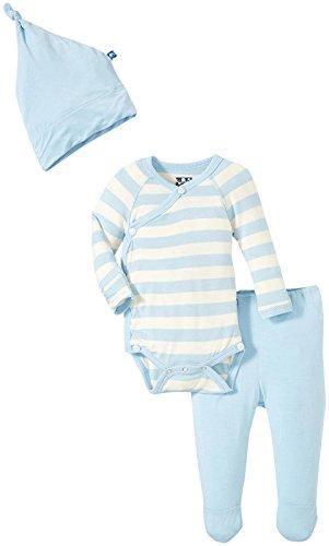 KicKee Pants Boys' Essentials Kimono Newborn Gift Set with Box, Pond Stripe, 0-3 Months