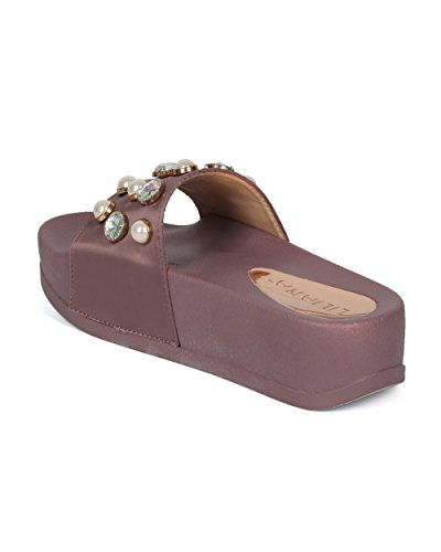 Alrisco Women Satin Faux Pearl and Gems Platform Footbed Slide - HG26 by Liliana Collection Mauve Satin JAsc7j