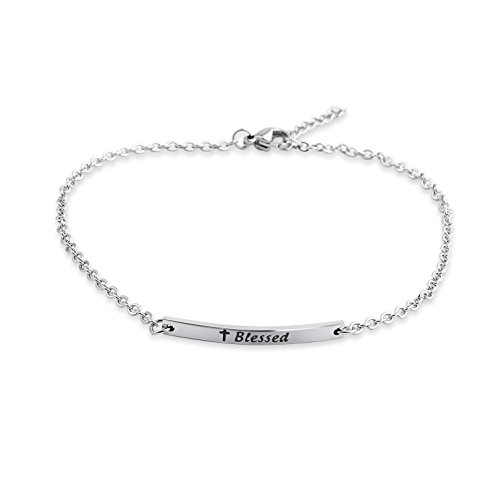 FEELMEM Blessed Hand Stamped Bar Anklet Bracelet Adjustable Chain Ankle Bracelet for Women (silver) by FEELMEM