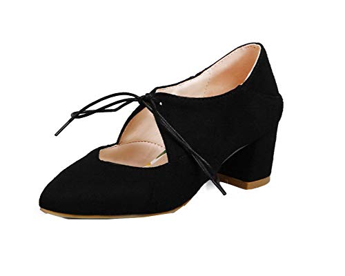 AllhqFashion Women's Lace-Up Frosted Solid Kitten-Heels Pumps-Shoes,FBUDD013338,Black,36 ()