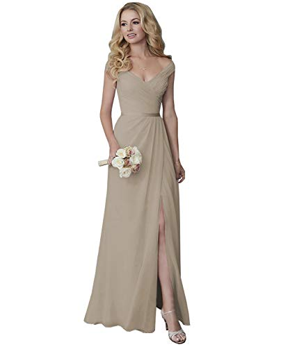 Yilis Off The Shoulder V-Neck Slit Chiffon Bridesmaid Dress Long Formal Dress Wedding Guest Dress Taupe 10