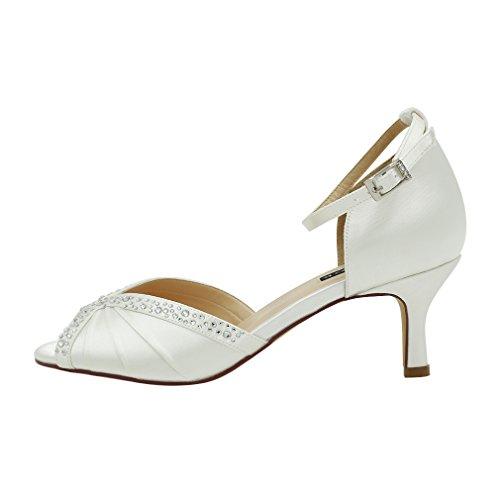 Image of ERIJUNOR Women Comfort Low Heel Ankle Strap Rhinestones Pleat Satin Wedding Evening Dress Dance Shoes