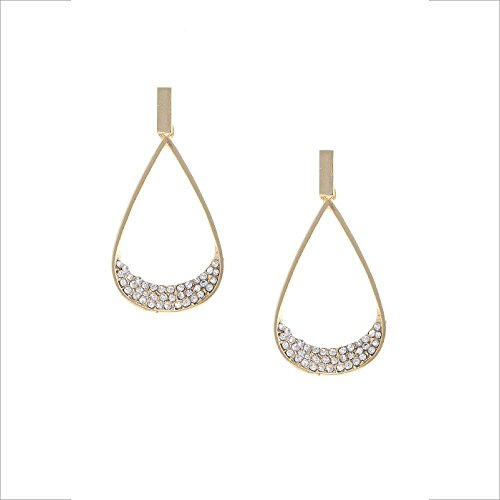 FashionGal Stylish Fashion Crystal Teardrop Gold Earrings