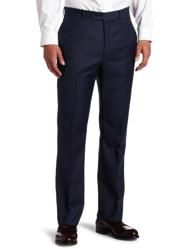 Fit Suit Trousers (Tommy Hilfiger Mens Flat Front Trim Fit 100% Wool Suit Separate Pant, Blue, 32W x 30L)