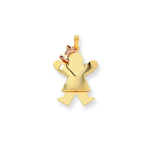 14k Two-Tone Puffed Girl With Bow On Left Engravable Charm by Shop4Silver