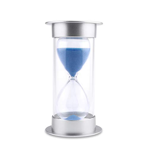Hourglass Sand Timer 5/10/15/30/45/60 minutes Sand glass Timer for Romantic Mantel Office Desk Book Shelf Curio Cabinet Christmas Birthday Gift Kids Games Classroom Kitchen Home Dec (5 min, blue)