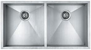 33 Zero Radius Double Bowl Undermount 16 Gauge Stainless Steel Kitchen Sink with 2 Free Strainers and 2 Free Grids