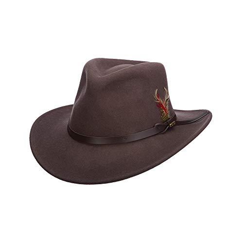 Scala Classico Men's Crushable Felt Outback Hat, Chocolate, ()