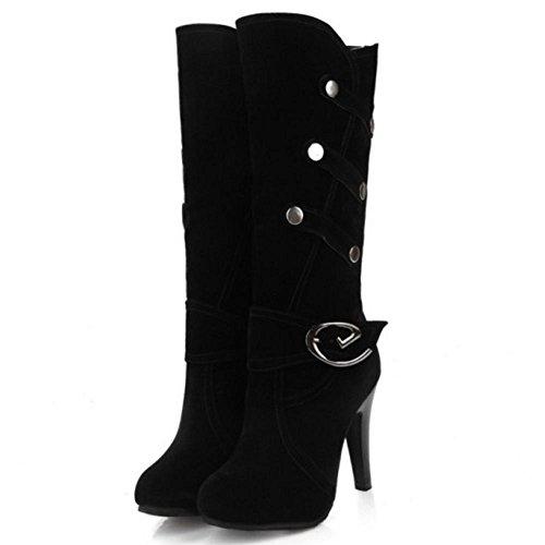 Tall Black Women Heels Fashion Suede COOLCEPT Boots High Stiletto Faux Buckle qaxRC7BAw