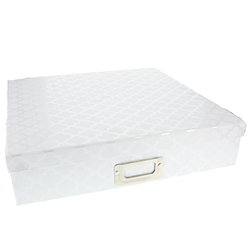 American Crafts DCWV 12'' x 12'' White Crafting Box w/ Quatrefoil Designs - Premium Scrapbooking Material - Storage Holder Solution by American Crafts