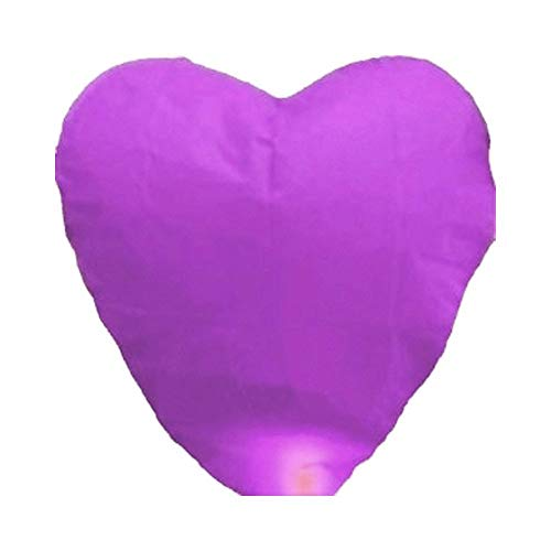 Alrens_DIY(TM) Pack of 10 Love Heart Shaped Chinese Sky Fly Fire Paper Lanterns Wish Balloon Wishing Lamp for Wedding Birthday Christmas Party Celebration Lanterns (Purple)