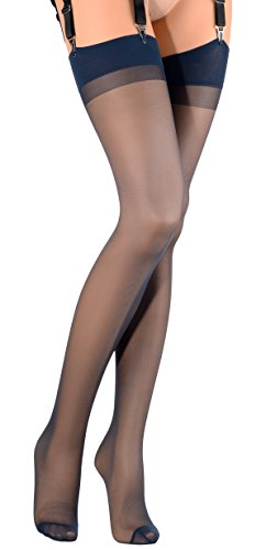Blue Thigh High Stockings (Sara 20 Den Silky Stockings Color: Blu Size: 3)