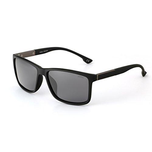 FEIDU Fashion Classic Brand Polarized Sunglasses Men Plastics Frame Wayferer women men Shade With Case FD0119 (black, - Glasses Wayferer