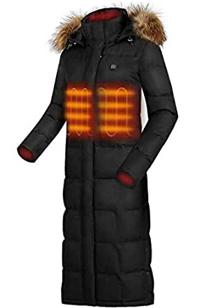 IHAYNER Heated Jackets Women Lightweight Hooded Winter Coats Long with USB-Battery Included Black