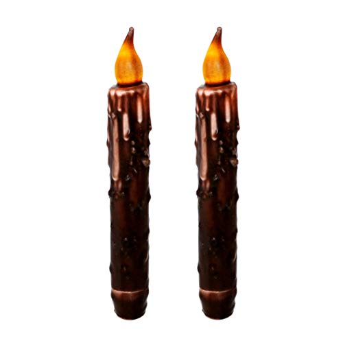 CVHOMEDECO. Real Wax Hand Dipped Battery Operated LED Timer Taper Candles Country Primitive Flameless Lights Décor, 6-3/4''L, Brown, 2 PCS in a Package by CVHOMEDECO.