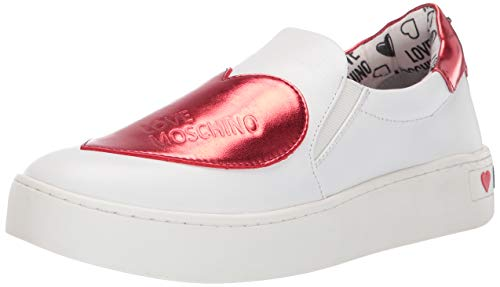 Love Moschino Women's Scarpad.cassetta35 Slip On Trainers, Red (Bianco/Rosso 10a), 5 UK