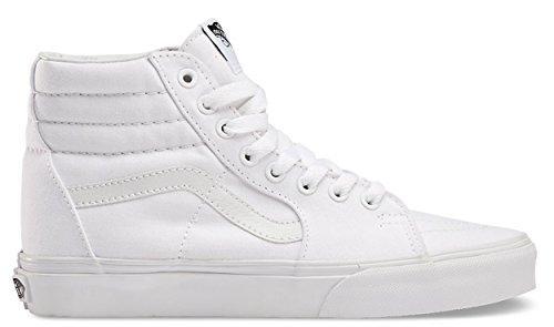 Vans SK8 Hi True White Unisex Shoes Men/Women Fashion Skate Sneakers (5.5 Men/7.0 (Vans White Shoes)