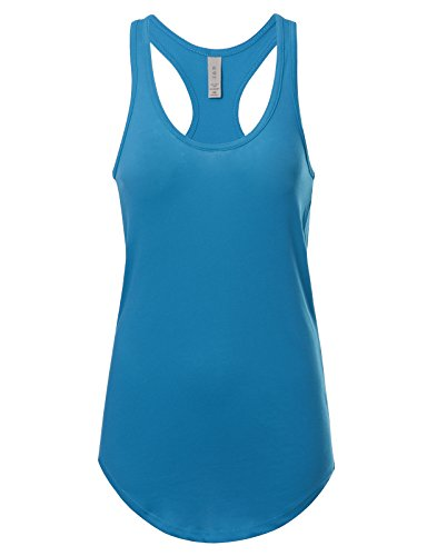 Women's Basic Solid Jersey Racer Back Tank Top with Scallop Bottom XL Turquoise