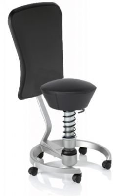 Aeris Swopper Classic - Bezug: Leder / Schwarz | Polsterung: Standard | Fußring: Titan | Universalrollen für alle Böden | mit Lehne und schwarzem Microfaser-Lehnenbezug | Körpergewicht: MEDIUM